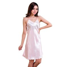 7deebb172a1 Ladies Sexy Silk Satin Nightgown Sleeveless Nighties Above Knee Nightdress  Plus Size Night Dress Summer Sleepshirt For Women