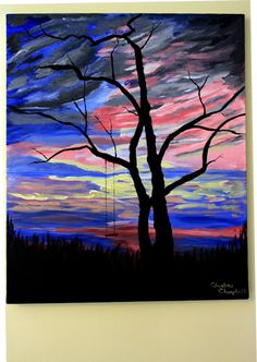 Original Painting Framed Art Abstract Tree Blue Pink Grey Acrylic on Streched Canvas 24 x 18 Unframed - pinned by pin4etsy.com