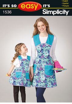 it's so easy child's and misses' apron ties at the neck and waist with pockets in the front.