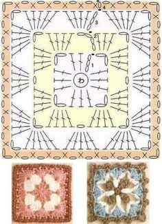 Transcendent Crochet a Solid Granny Square Ideas. Inconceivable Crochet a Solid Granny Square Ideas. Crochet Bedspread Pattern, Crochet Motif Patterns, Crochet Symbols, Crochet Blocks, Granny Square Crochet Pattern, Crochet Diagram, Crochet Chart, Crochet Squares, Crochet Cushions