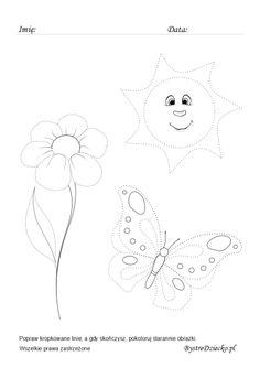 Ćwiczenia grafomotoryczne, rysowanie po śladzie dla dzieci, Anna Kubczak Montessori, Growing Up, Art For Kids, Bing Images, Homeschool, Dots, Black And White, Education, Female