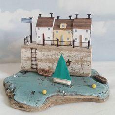 Butty Harbour. #driftwood #shabbydaisies #littlehouse #driftwoodart #rustic #rusticart #summer #sun #shabbychic #boats #sailboat #woodenhouse