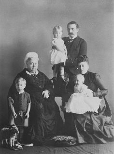 Queen Victoria with Prince and Princess Henry of Battenberg and their children, 1889 [in Portraits of Royal Children Vol.38 1889-1890] | Royal Collection Trust