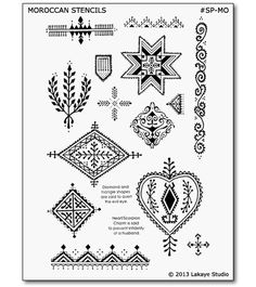 Thirteen beautiful body art motifs based on traditional Moroccan mehndi designs, suitable for henna and jagua temporary tattoos. Jewish Tattoo, Croatian Tattoo, Moroccan Henna, Moroccan Art, Henna Tattoo Stencils, Henna Art, Tattoo Designs, Henna Designs, Tribal Patterns