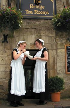 The Bridge Tea Rooms, circa 1675: Authentic Victorian Surroundings with costumed waitresses, Bradford on Avon in the UK.