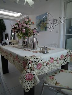 Beautiful rustic fashion quality embroidery fabric dining table cloth tablecloth cutout cover towel pink rose-inTable Cloth from Home & Garden on Aliexpress.com | Alibaba Group Dining Table Cloth, Table Linens, Machine Embroidery Patterns, Silk Ribbon Embroidery, Romantic Living Room, Elegant Table, Decoration Table, Table Covers, Rustic Style