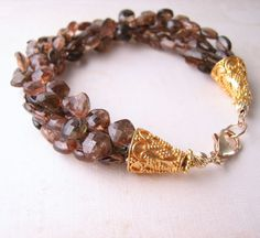 Andalusite gemstone multi strand luxe bracelet