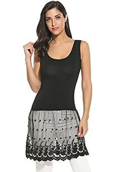 fd1453066d4c4 Meaneor Womens Plus Size Casual Basic Tank Top Lace Bottom Dress XXXL Black  >>> Check out the image by visiting the link.
