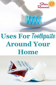 Here are a lot of tips and uses for toothpaste around your home, for cleaning, stain removal and more. It's useful for cleaning a lot more than your teeth on Stain Removal 101 Deep Cleaning Tips, House Cleaning Tips, Spring Cleaning, Daily Cleaning, Cleaning Supplies, Uses For Toothpaste, Bathroom Cleaning Hacks, Cleaning Painted Walls, Glass Shower Doors