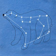 Women's Ursa Major, Bear Constellation Shirt, lake blue short sleeve, metallic silver foil print, animal stars space print. $36.00, via Etsy.