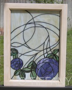 "Tiffany Style Stained Glass Window Panel ""Spring"" w Wood Frame"