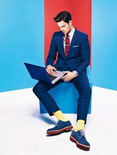 GQ France: Les Couleurs. Blue suit is a must! <3