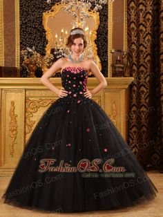 Popular Black Quinceanera Dress Strapless Tulle Appliques Ball Gown  www.fashionos.com  | quinceanera dress with low price | beaded quinceanera dress with full skirt