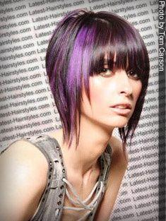 black and purple hair color idea  color not cut?