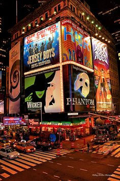Times Square - NEW YORK'S MUSICALS. Obviously the Phantom Of The Opera is amazing and fascinating!!! @Emma Cassino