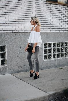 A crochet detail off-the-shoulder top is so chic.