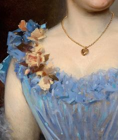 """Portrait of a Lady in a Blue Dress"" (detail) by Anton Ebert, 1893."