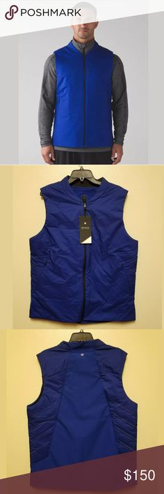 {LULULEMON} Surge Thermo Vest Hero Blue Sz XL Size: XL Color: Blue  Retail Price: $ 198  This lightweight vest is designed with both insulation and ventilation where you need it. Made with Glyde Fabric that is wind-resistant and water-repellent. PrimaLoft® Gold Insulation Active in the upper body stays warm when wet, while Polartec® Alpha® Insulation in the lower body is lighter and more breathable. lululemon athletica Jackets & Coats Vests