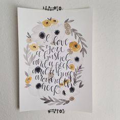 I love you a bushel, & a peck, & a hug around the neck handwritten wall art, calligraphy watercolor art, custom quote artwork, anemone flower art  @angeladavidsondesign via Instagram
