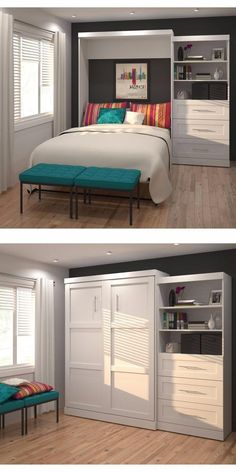 Future craft room/guest room combo This wall bed is a great way to organize and sort your space so everything is easily accessible. The ample drawer space allows a clean, well designed space where everything is tucked out of site. Guest Bedroom Office, Guest Bedrooms, Bedroom Decor, Bedroom Ideas, Small Spare Room Office Ideas, Guest Room And Nursery Combo, Bedroom Inspiration, Spare Room Storage Ideas, Nursery Office Combo