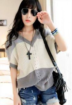 Stylish V Neck Knitted Top
