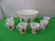 Vintage 7 Piece Hazel Atlas Christmas Tree Punch Bowl Set Milk Glass  | eBay