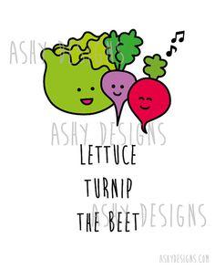 Lettuce Turnip the Beet! 8x10inch Artwork Design 8x10 Print - Fruit Veggie Pun by AshyDesigns