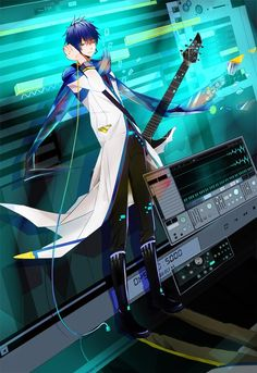 An anime boy named Kaito. He is from a popular anime/manga called Vocaloid. I love the picture. The colors are electrifying. #Anime #Kaito