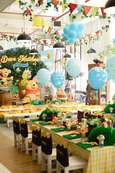Winnie the Pooh 1st Birthday Party on Kara's Party Ideas | KarasPartyIdeas.com (19) 1st Birthdays, Showers, Shower Heads, 1st Year Birthday, 1 Year Birthday, Shower, Tile Showers