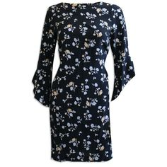 Womens Ladies Black Floral Shift Dress Bell Sleeves Knee Length Wedding Occasion #Ladies #ShiftDress #SpecialOccasion