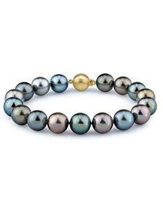 9-10mm Tahitian South Sea Multicolor Cultured Pearl Bracelet in 14K Gold ** Click image for more details.