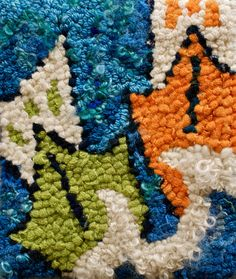 Boats on a Tilt hooked rug 85x10 by Deanne Fitzpatrick. Colorful boats on blue water. Summer theme.