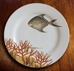 fishy fish Dinner Plate OK corail by MilestoneDecalArt on Etsy, $45.00