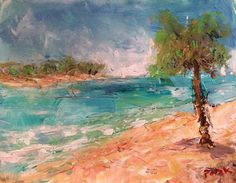 Tropical Beach Seascape Painting sailboats in by RussPotakArtist