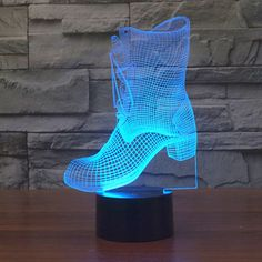2016 new boots light colorful touch LED visual light gift decorative atmosphere table lamp Lampe Led, Led Lamp, Led Glow Lights, 3d Light, Light Touch, Kids Lamps, Cyan, Novelty Lighting, Chasing Lights