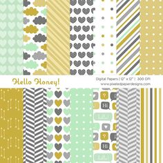 Hello Honey Digital Paper Pack - Digital Background for Scrapbook, Card, DIY projects, etc | Commercial License Available