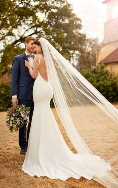 D2378 Backless Crepe Wedding Gown by Essense of Australia