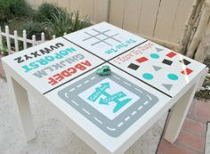 DIY Idea: Toddler Activity Table -- IKEA hack with $8 table and changeable vinyl cling stickers.