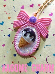 Ice cream pendant necklace cameo bow glitter lolita by KagomeCharm, $5.99