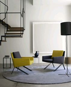 minimalist living room with yellow and grey | Theo for B & B Italia, '12