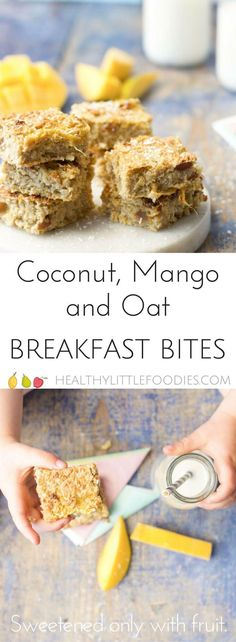 These coconut mango oat breakfast bars are a great start to the day. Sweetened only with fruit. Great for #BLW (Baby led weaning) and lunch box friendly. #babyledweaning #norefinedsugar #healthybreakfast #kidsfood #lunchbox #lunchboxfriendly