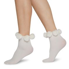 EBBA ARE OUR FUN POM POM SOCKS KNITTED USING NILIT® ECO-CARE RECYCLED YARN. THE SOCK ITSELF IS RIBBED WITH FLUFFY BALLS ATTACHED TO THE TOP EDGE OF THE SOCK.  MATERIAL: 95% RECYCLED POLYAMIDE, 5% ELASTANE Recycled Yarn, High Knees, Ankle Socks, Knitting Socks, New Product, Hosiery, Active Wear, Ivory, Stockings