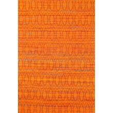 Beautiful Jacquard  Orange Sari Silk Rug -