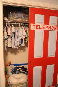 Get it?  Our super hero nursery has a superman telephone booth closet door!