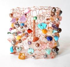 Copper Bracelet Cuff Statement Jewelry Wire Knit Unique by imwyred