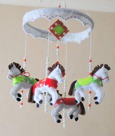 Carousel Horse  Baby mobile  crib mobile  felt by RazzleDazzle4U, $85.00