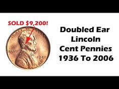 Doubled die, doubled ear Lincoln Cent Penny images, values and how to identify. Some call double ear. Rare Coins Worth Money, Valuable Coins, Antique Coins, Old Coins, Show Me The Money, Make Money From Home, Penny Values, All Currency, Coin Worth