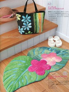 Kathy's Hawaiian Style Japanese Patchwork by JapanLovelyCrafts wouldn't this make a wonderful bath mat? Hawaiian Quilt Patterns, Patchwork Quilt Patterns, Hawaiian Quilts, Patchwork Bags, Applique Quilts, Tropical Quilts, Sewing Crafts, Sewing Projects, Skinny Quilts