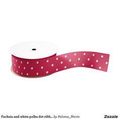 Fuchsia and white polka dot ribbon grosgrain ribbon - Paloma Navio