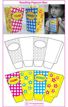 12 Free Popcorn Box Templates for Family Movie Night Fun Crafts, Crafts For Kids, Paper Crafts, Creative Activities, Art Activities, Hollywood Crafts, Free Popcorn, Popcorn Boxes, Pop Corn